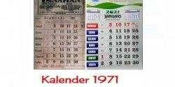 Tahukah Anda? Kalender Tahun 1971 Sama Persis dengan 2021